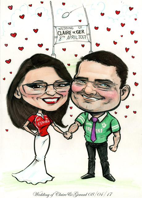 Caricature of newly married couple in Wales and Ireland rugby t-shirts with goalposts in background