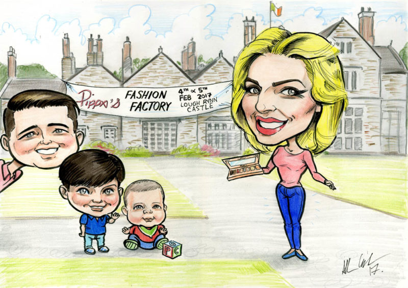 Caricature of Pippa O'Connor and family with Lough Rynn Castle Hotel in the background by Irish Caricature Artist Allan Cavanagh