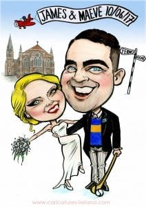 Caricature of bride and groom outside St. Patrick's Church Fermoy, hurling GAA caricature