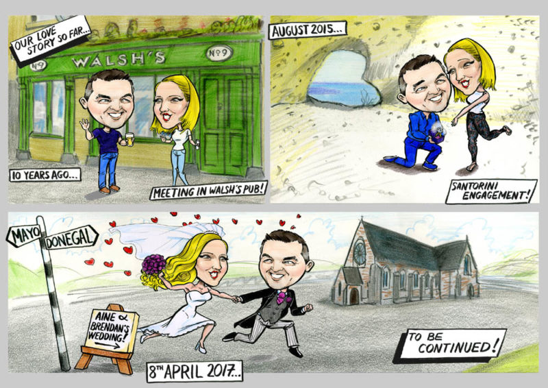 Caricatures Ireland Wedding Invitation cartoon strip santorini