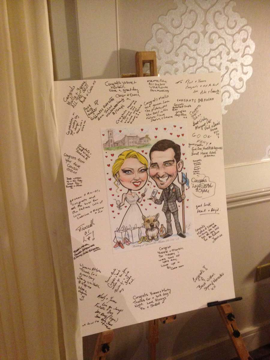 Photograph of wedding signing board by Allan Cavanagh Caricatures Ireland