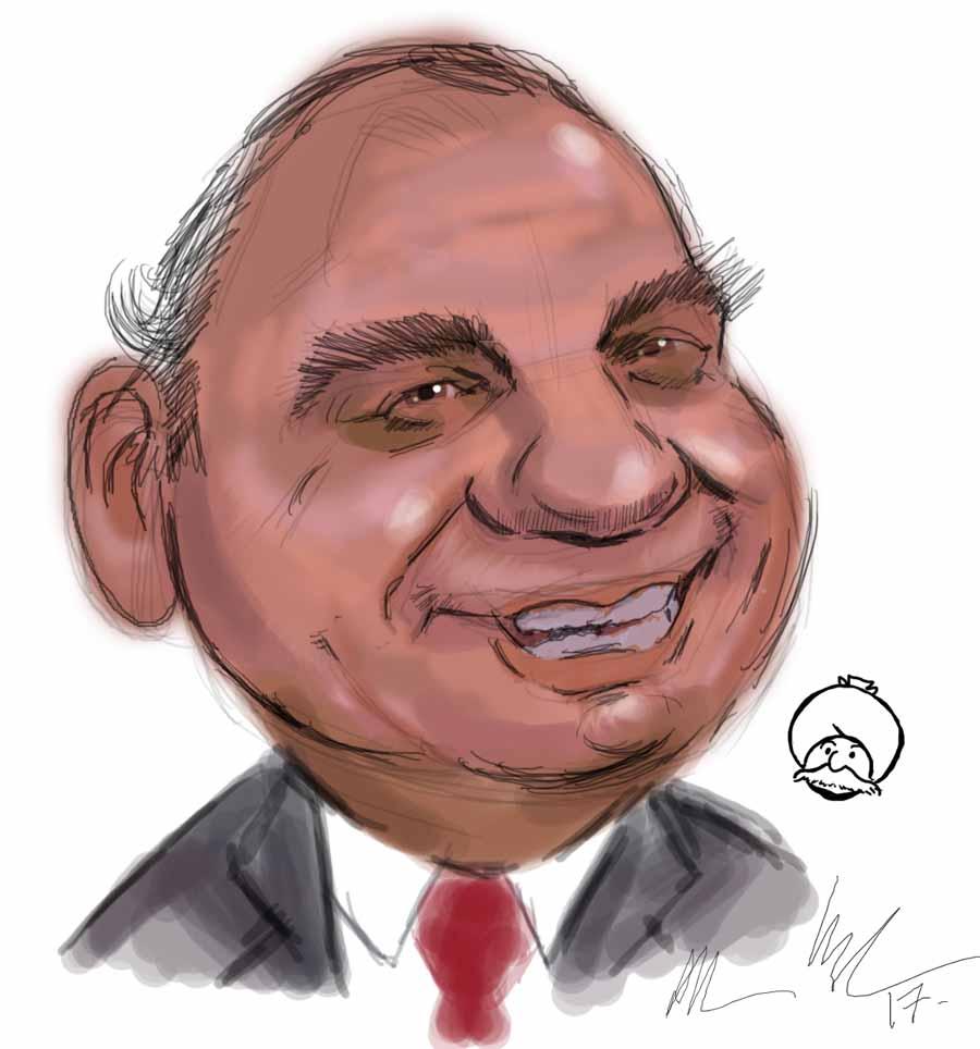 Caricature of Cartoonist Pran