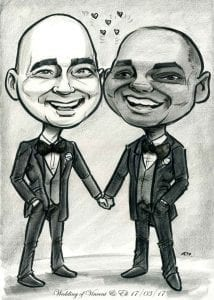 Black and white caricature of newly married grooms holding hands wearing black suits