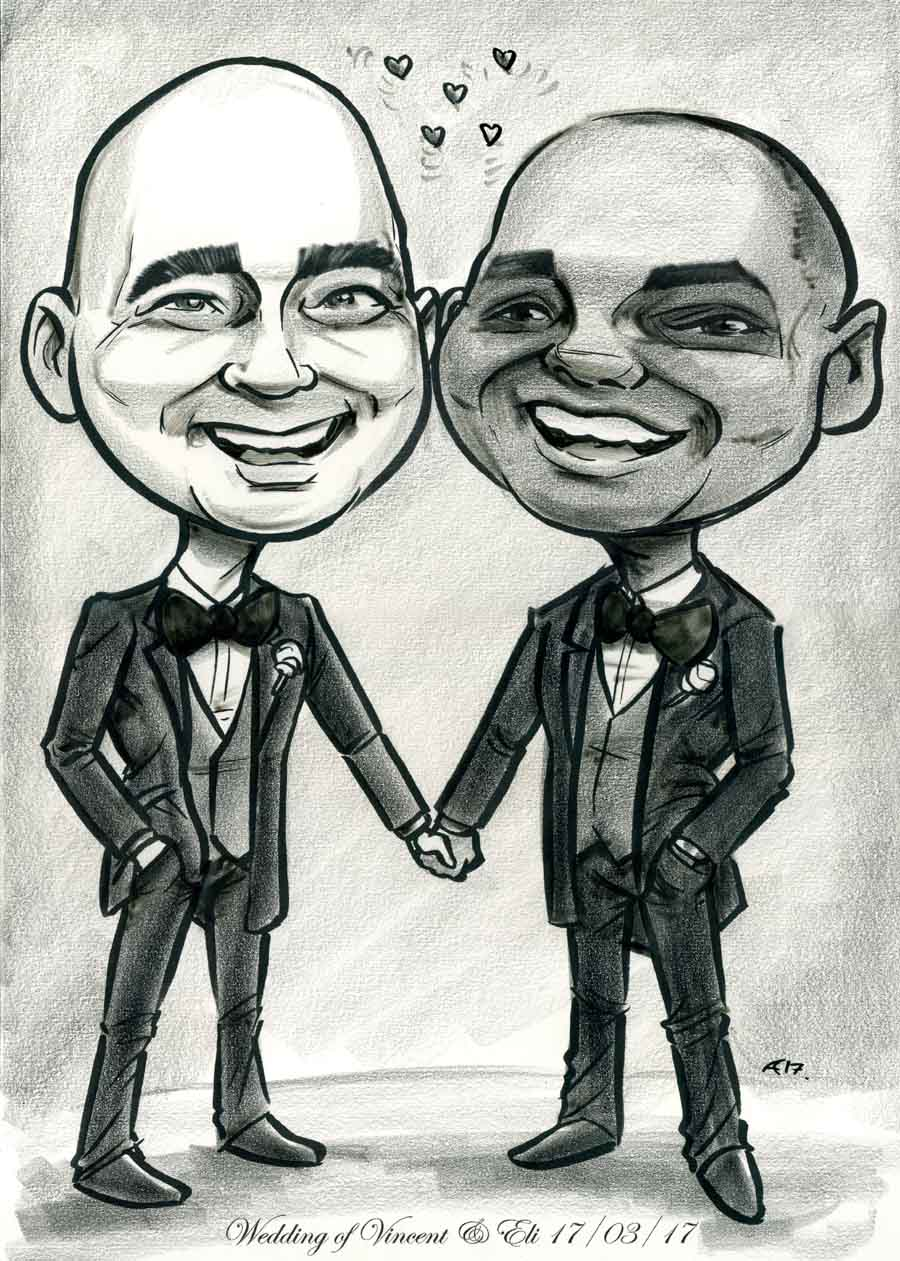 caricature wedding presents black and white caricature of newly married grooms holding hands wearing black suits
