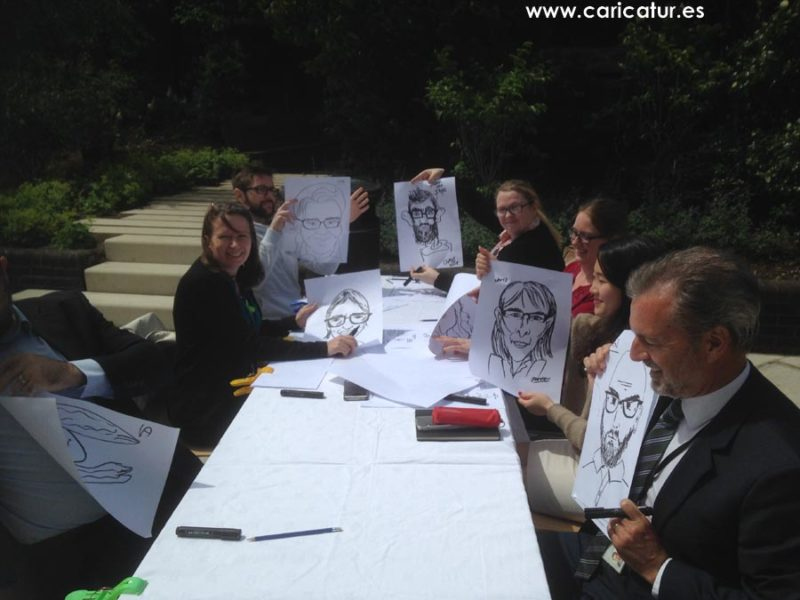 Windy day but sunny at teambuilding caricature class Irish Life!