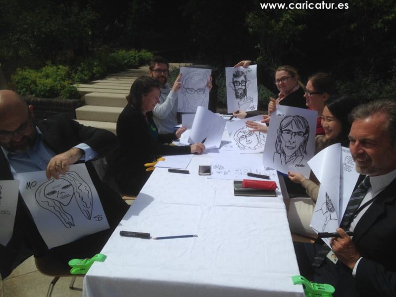 20 minutes into teambuilding caricature class, sun is still out, the drawings are great!