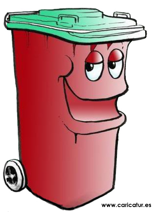 dustbin cartoon of a red dustbin trashcan with green lid and a smiling face