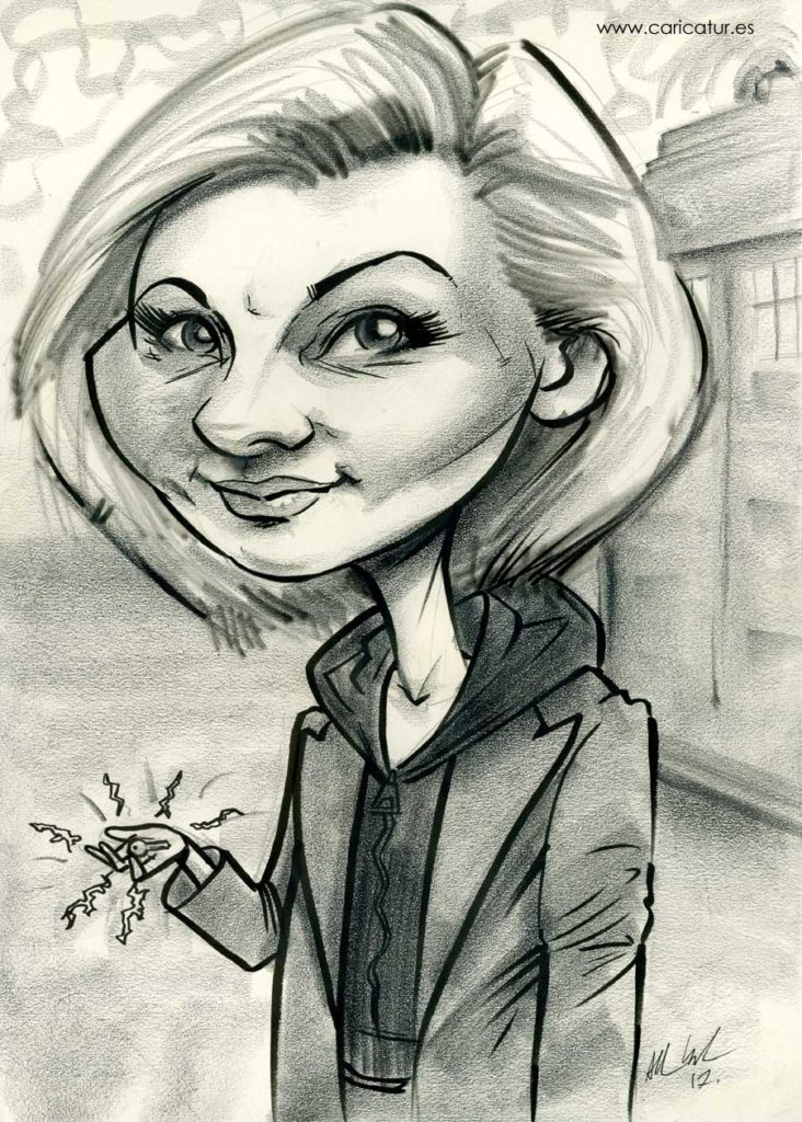 Cartoon caricature of New Doctor Jodie Whittaker by Allan Cavanagh