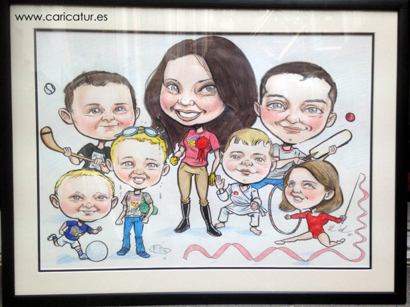 framed family caricature by Allan Cavanagh with 7 children playing sports