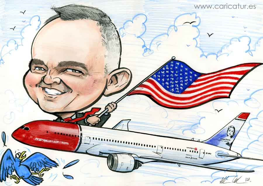 Gift Caricature of man in Norwegian Airlines plane waving an American flag by Allan Cavanagh