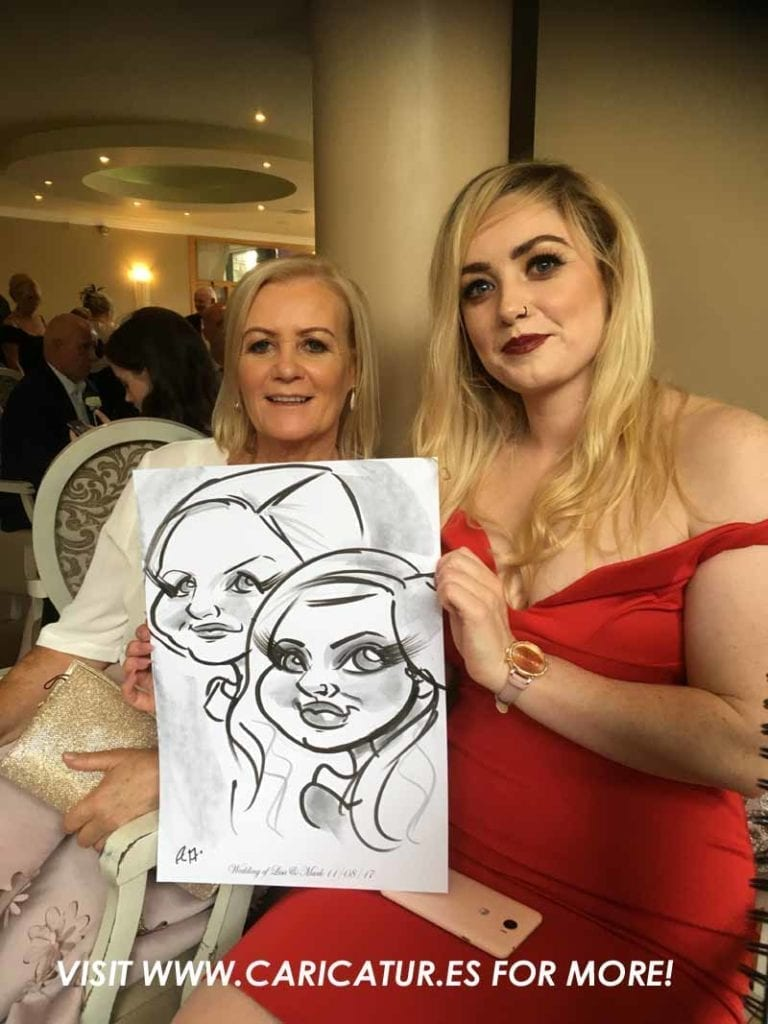 weddings wexford Photo of man and woman laughing with caricature by Allan Cavanagh
