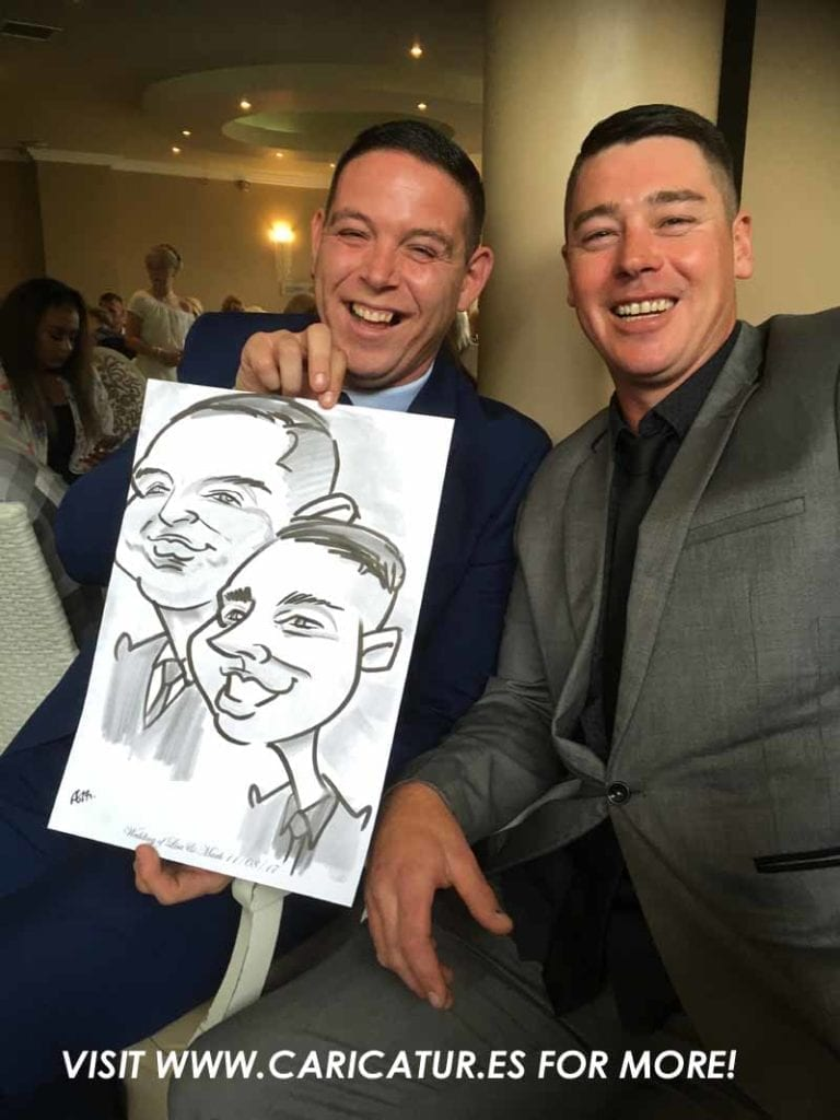 weddings wexford Photo of two men laughing with caricature by Allan Cavanagh