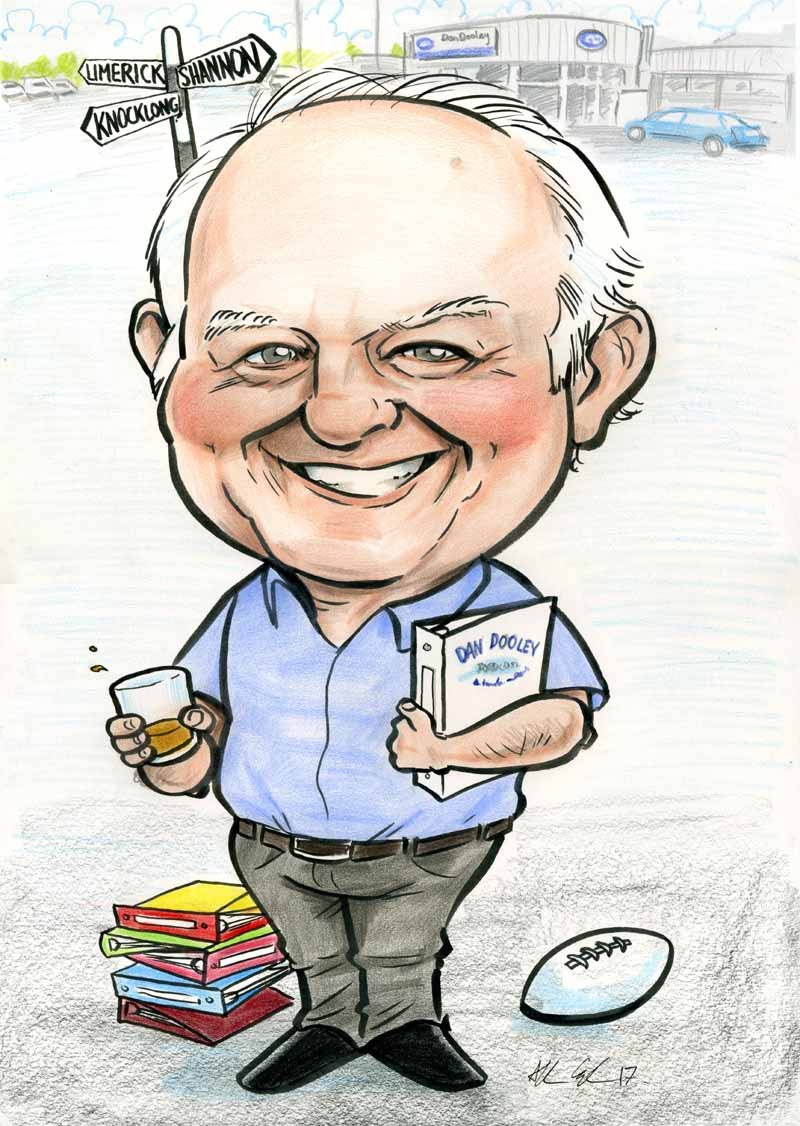 retirement present caricature by Allan Cavanagh