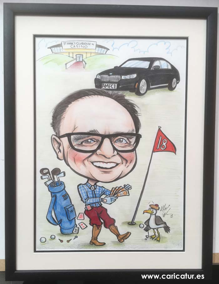 Golf Caricature by Allan Cavanagh featuring St. Anne's Golf Club