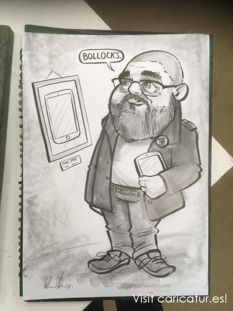 Cartoon of Phill Jupitus by Allan Cavanagh