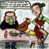 Cartoon full Irish breakfast chicken egg sausage beans cafe waitress customer