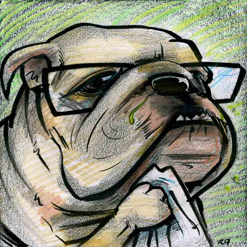Cartoon Brexit British Bulldog with the flu