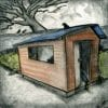 Shed Cartoon – Scary Shed with Broken Window, Tree, Crows, and Rat