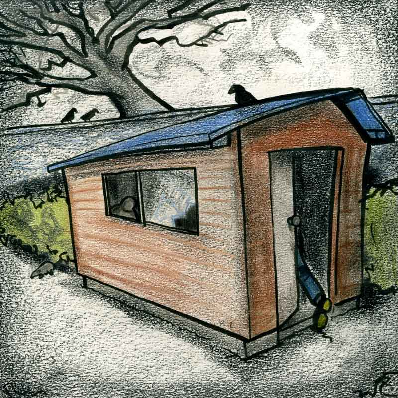 Cartoon illustration of scary foreboding shed