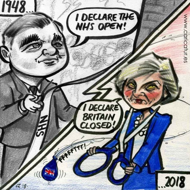 Aneurin Nye Bevan NHS Teresa May BREXIT cartoon in Indian Ink and Coloured Pencil