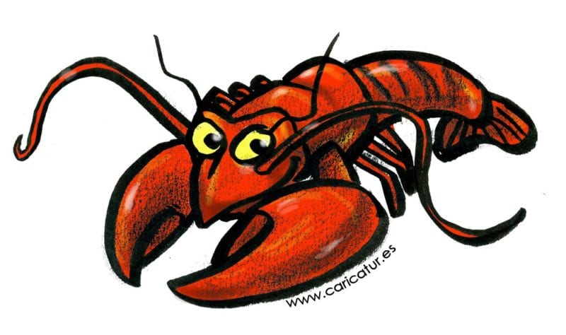 lobster cartoon; red lobster smiling cartoon