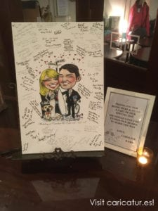 Close up of wedding signing board by Allan Cavanagh showing guest signatures