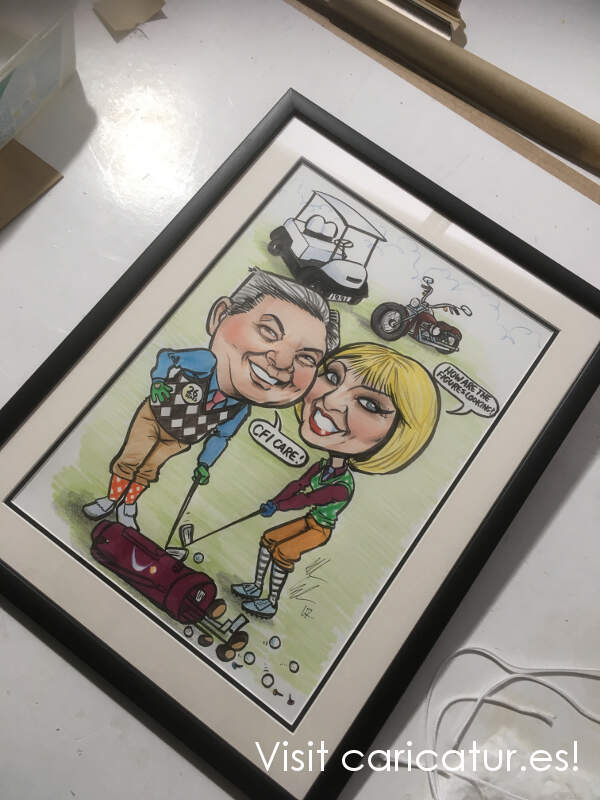 Framed Golf Gift Caricature, free delivery in Ireland