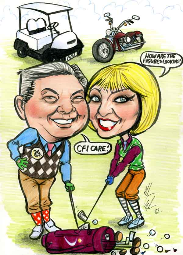 Framed Golf Couple Caricature Gift
