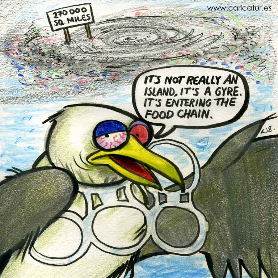 Cartoon about Pacific Plastic Island with seagull stuck in six pack plastic rings