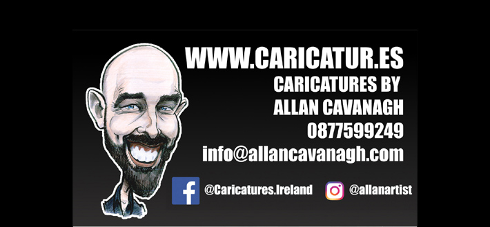 ALLAN CAVANAGH wedding corporare caricature artist reviews contact details