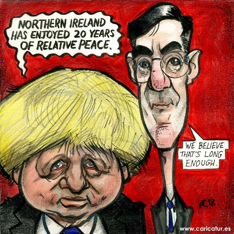 Caricature of Boris Johnson and Jacob Rees-Mogg