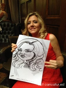 woman in red dress with caricature