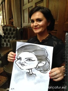 woman in black dress with caricature