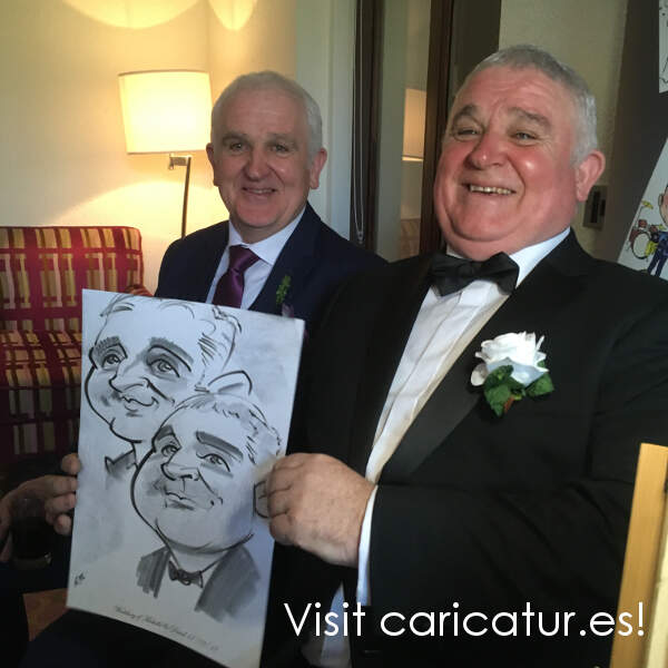 Wedding guests with caricatures by Allan Cavanagh Ireland