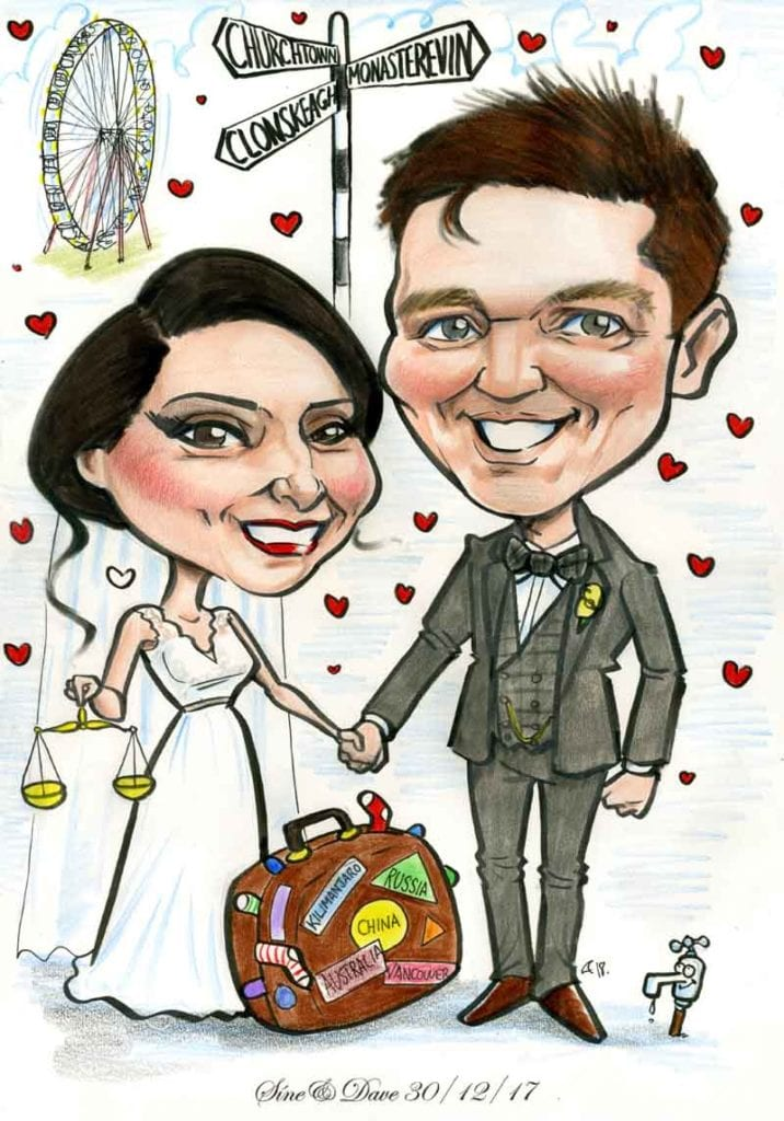 Fun wedding gifts Ireland caricatures by Allan Cavanagh