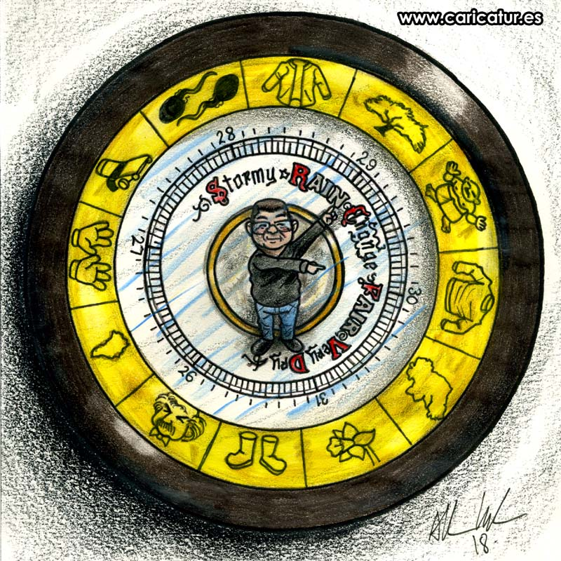 barometer cartoon with elements from writer's life