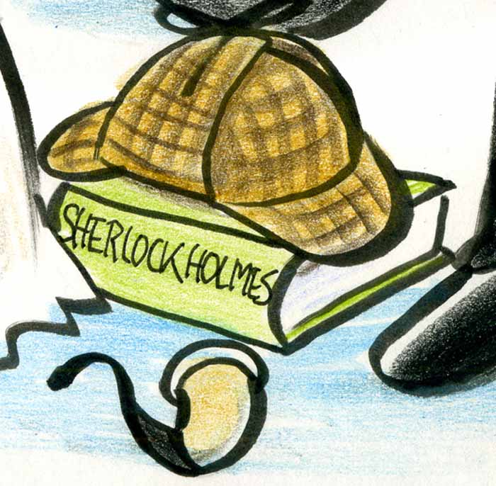 Sherlock Holmes Deerstalker and Pipe Cartoon