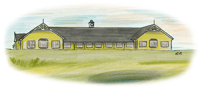 Drawing of Rosapenna Pavilion, Sheephaven Bay, Downings, by Allan Cavanagh
