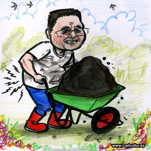 Back Pain Cartoon Gardening Wheelbarrow Compost swallows flying in sky