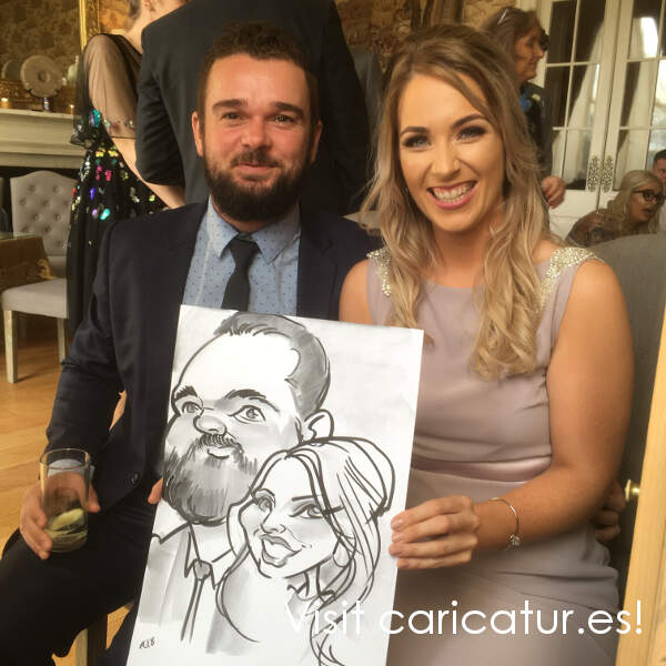 Castle Durrow Laois live wedding caricature by Allan Cavanagh