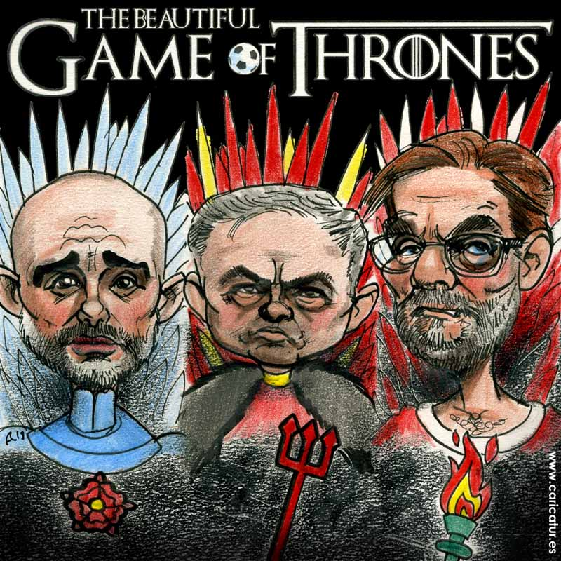 Pep Guardiola, José Mourinho, Jürgen Klopp Game of Thrones Cartoon