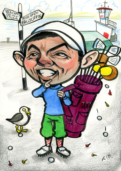 Rory McIlroy Caricature Cartoon Funny Drawing Irish Open 2018