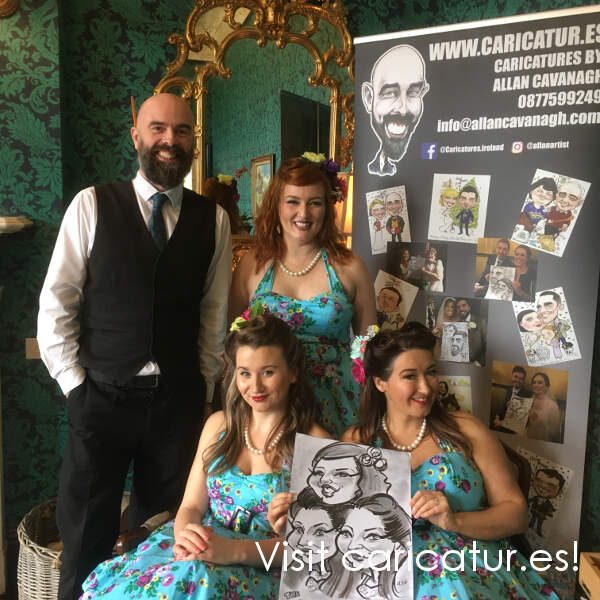 wedding singers The Apple Blossoms with Allan Cavanagh Caricature Artist