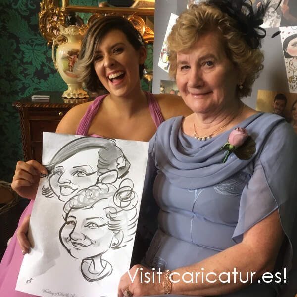 Boyne Hill House wedding caricature 2 women laughing