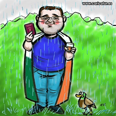 citizenship cartoon man draped in irish flag glass of whiskey Irish passport duck rain