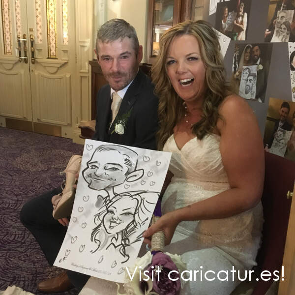 Bride and groom, laughing, drawing caricature, hotel, wedding reception, Carlow