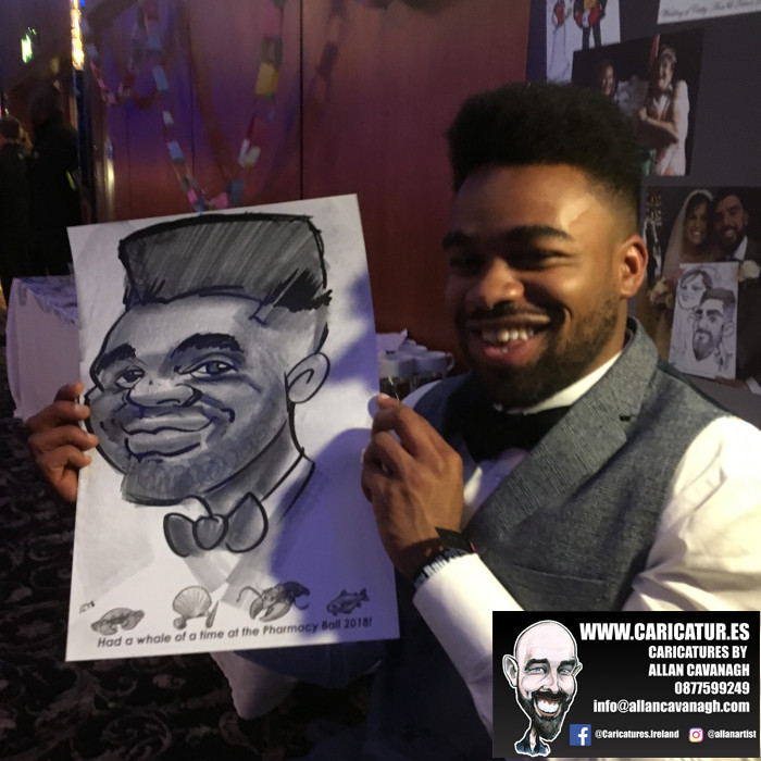 Smiling man with caricature