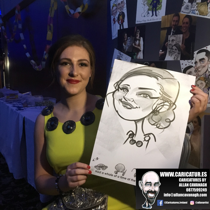 Woman smiling with caricature