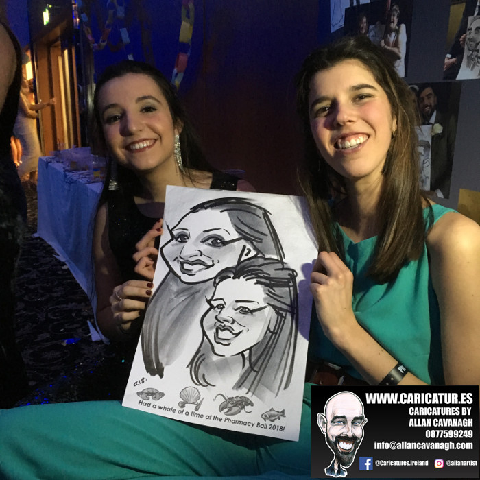 Two women smiling with caricature