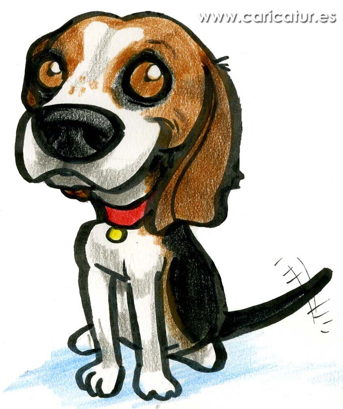 Beagle Cartoon Dog with big eyes and red collar wagging tail by Allan Cavanagh